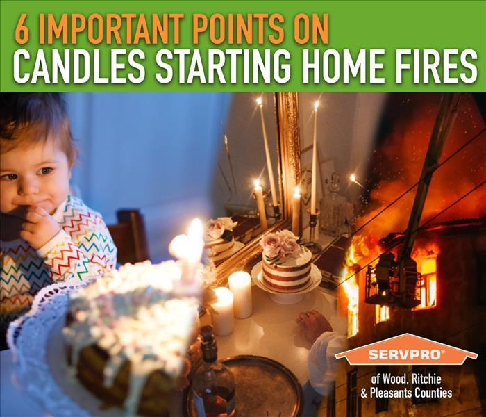 A baby with a candled birthcake, and a home fire.